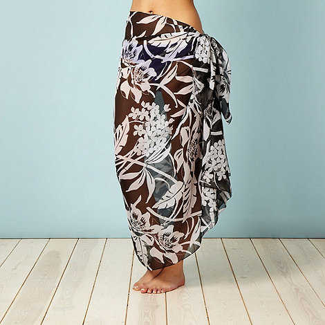 Beach Collection - Black floral woven sarong
