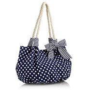Navy Polka Dot Printed Beach Bag