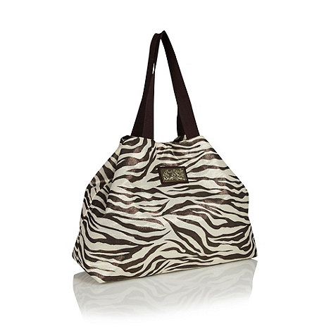 The Collection - Chocolate brown zebra printed beach bag