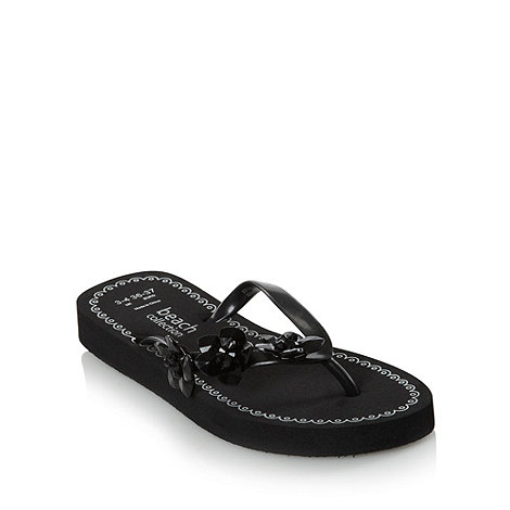 Beach Collection - Black embellished flip flops
