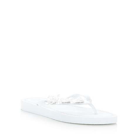 Beach Collection - White faceted gem flip flops