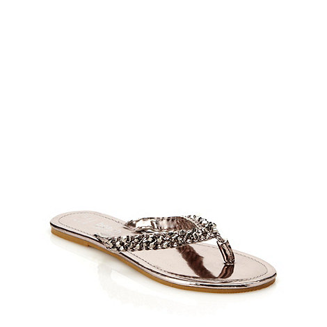 Beach Collection - Silver plaited strap flip flops