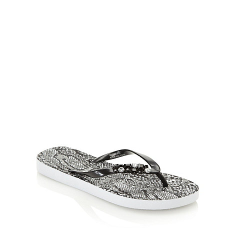 Beach Collection - Black bejewelled snakeskin print flip flops