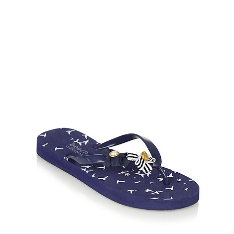Beach Collection - Navy blue seagull print flip flops