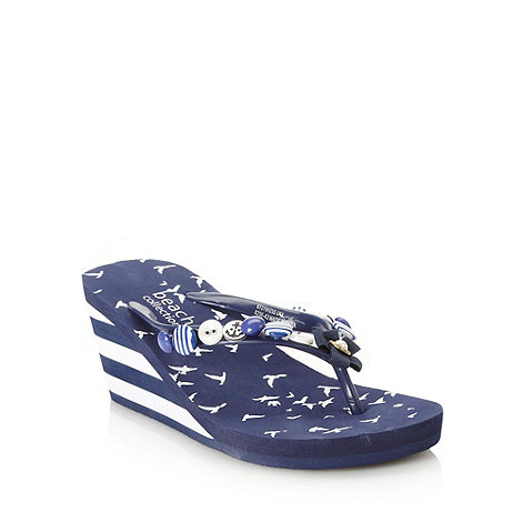 Beach Collection - Navy buttoned mid heel wedge flip flops
