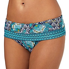 Beach Collection - Turquoise floral print bikini fold over bottoms