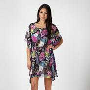 Designer dark grey photographic floral kaftan