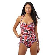 Pink oriental blossom tummy control swimsuit