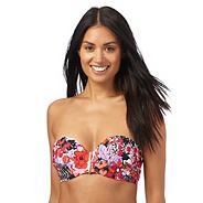 Pink oriental blossom bikini top