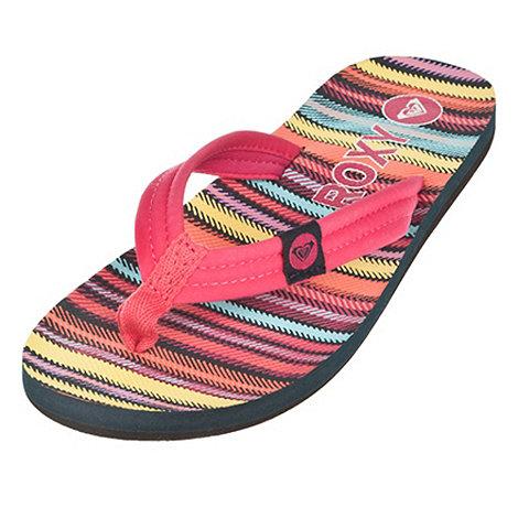 Roxy - Pink striped +talia+ flip flops