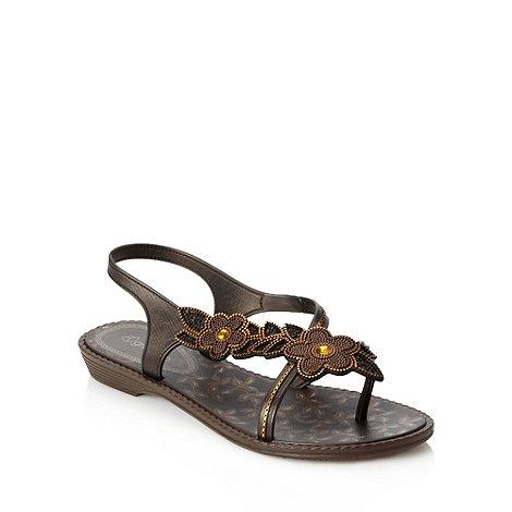 Grendha - Dark brown floral sandals