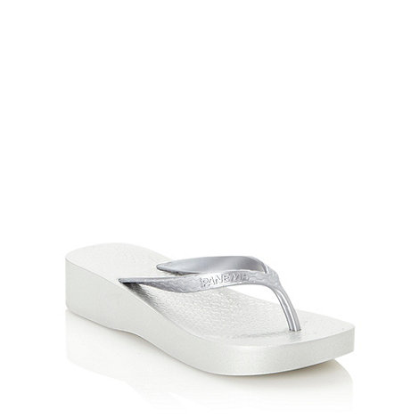 Ipanema - Silver platform wedge flip flops