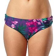 Purple floral ruched bikini bottoms