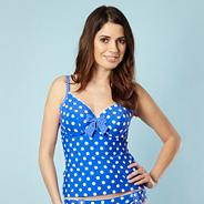 Blue polka dot uplifting tankini top