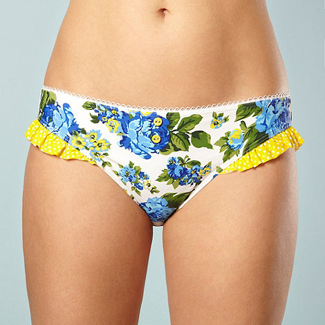 Gorgeous DD+ - Blue rose patterned frilly bikini bottoms