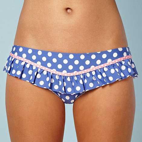 Floozie by Frost French - Designer blue polka dotted frilly bikini bottoms