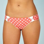 Designer peach spotted button bikini bottoms