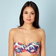 Designer navy underwater floral underwired bikini top