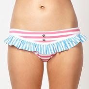 Designer pink stripe patterned bikini bottoms