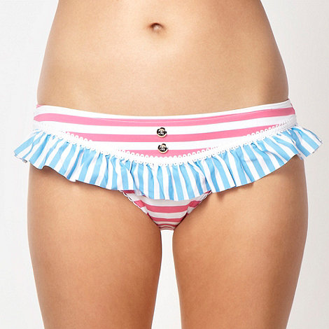 Floozie by Frost French - Designer pink stripe patterned bikini bottoms