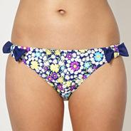 Navy daisy bow side bikini bottoms