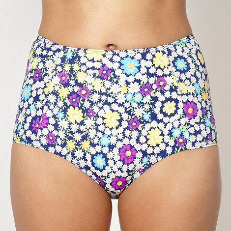 Red Herring - Navy daisy printed high waisted bikini bottoms