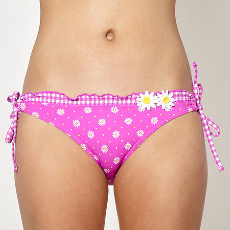 Red Herring - Pink daisy gingham tie side bikini bottoms