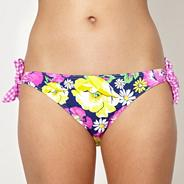 Navy floral gingham tie side bikini bottoms