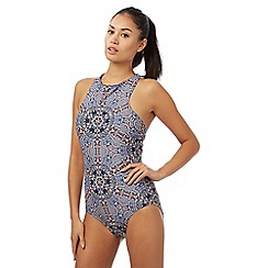 - Multi-coloured geometric high neck swimsuit