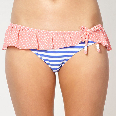 Floozie by Frost French - Designer blue striped frill bikini bottoms