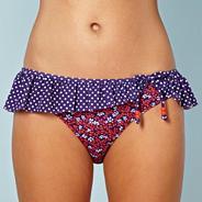 Designer navy ditsy floral bikini bottoms
