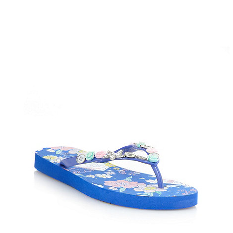 Floozie by Frost French - Blue postcard embellished flip flops