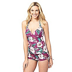 Mantaray - Purple floral print tankini top