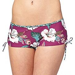 Mantaray - Purple floral print bikini shorts