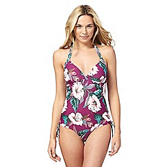 Mantaray - Purple floral print tummy control swimsuit