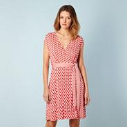 Designer red semi circles wrap beach dress