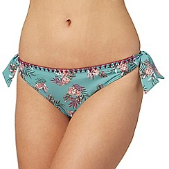 Mantaray - Green pineapple print bikini bottoms
