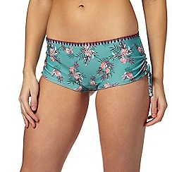 Mantaray - Green pineapple print bikini shorts