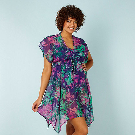 Gorgeous DD+ - Purple tropical floral kaftan