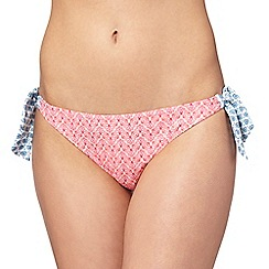 Mantaray - Pink floral print self tie bikini bottoms