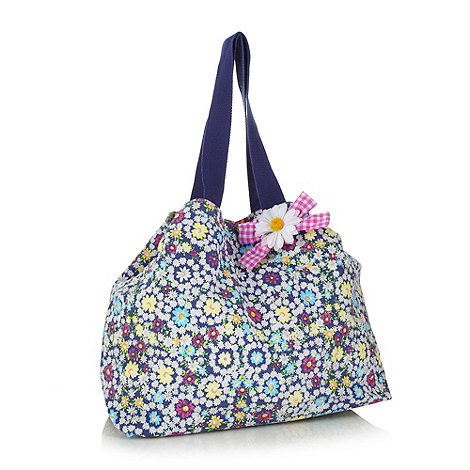 Red Herring - Navy floral canvas tote bag