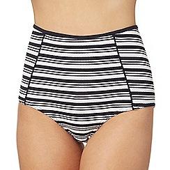 J by Jasper Conran - Navy striped high waisted tummy control bikini bottoms