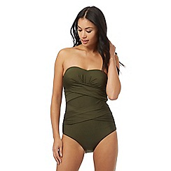J by Jasper Conran - Khaki green wrap bandeau tummy control swimsuit