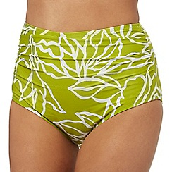J by Jasper Conran - Dark yellow floral print high-waisted bikini bottoms