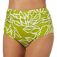 Yellow floral print high-waisted tummy control bikini bottoms