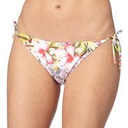 Multi-coloured tropical floral print bikini bottoms