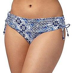 Gorgeous DD+ - Blue paisley print fold over bikini bottoms