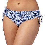 Blue paisley print fold over bikini bottoms
