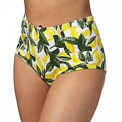 Gorgeous DD+ - Yellow lemon print high waisted bikini bottoms