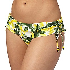 Gorgeous DD+ - Yellow lemon print fold over bikini bottoms